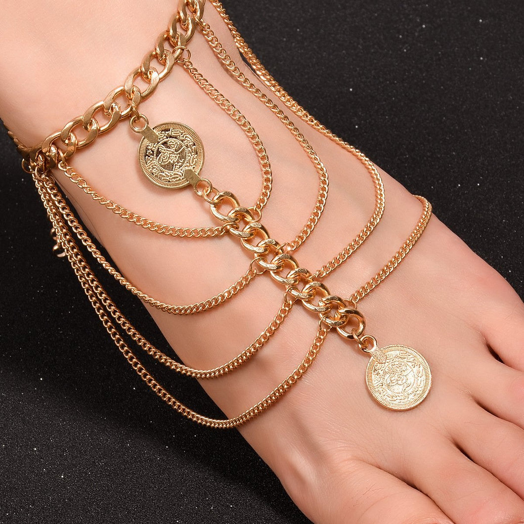Retro Punk Style Fashion Elements Exaggerated Coin Lace Anklets