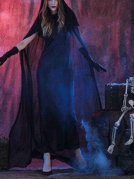 Halloween Black Devil's Long Cloak