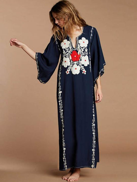 Embroidered Loose Flared Sleeve Maxi Dress