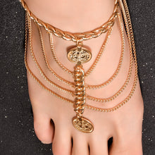 Load image into Gallery viewer, Retro Punk Style Fashion Elements Exaggerated Coin Lace Anklets