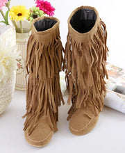 Load image into Gallery viewer, Flat tassels casual women s shoes in the tube female boots large size 40-43 yards