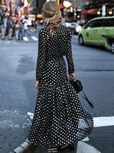 Load image into Gallery viewer, Polka Dot Long Sleeve V Neck Maxi Dress