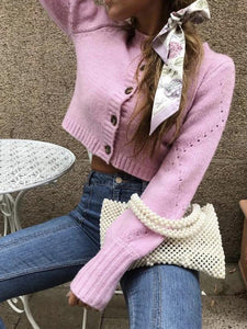 Lose Long Sleeve Solid Color Hollow Out Knit Short Cardigan Sweater Outwear
