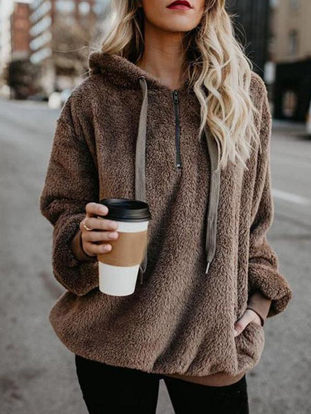 Winter Fleece Long-sleeved Solid Color Hoodie Tops