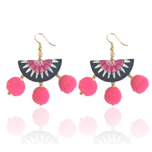 Load image into Gallery viewer, Women earring ball earrings short statement multi-layer big velvet fan-type earrings fringe jewelry vintage bohemia