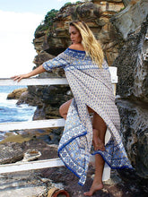 Load image into Gallery viewer, Fashion Chiffon Bohemia Floral Off Shoulder Side Split Maxi Dress