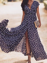 Load image into Gallery viewer, Sexy Deep V Polka Print Sleeveless Cardigan Strap Maxi Dress