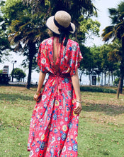 Load image into Gallery viewer, Floral V Neck Short Sleeve Bohemia Maxi Dress