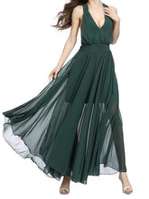 Load image into Gallery viewer, Hanging Neck Slim Dark Green Backless Sexy Big Swing Strap Beach Maxi Dress