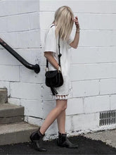 Load image into Gallery viewer, White V Neck Short Sleeve Tassel Mini Dress