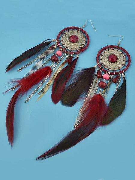 5 Colors Bohemia Feather Dream Catcher Tassels Earrings Accessories
