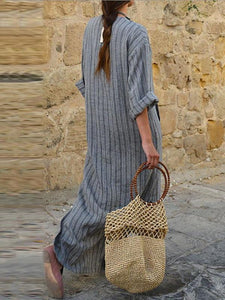 2018 Stripe Loose Casual Maxi Dress