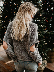 Knit Round Neck Hole Long Sleeve Winter Sweater Tops