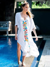 Load image into Gallery viewer, V Neck Short Sleeve Summer Beach Bikini Cover Up