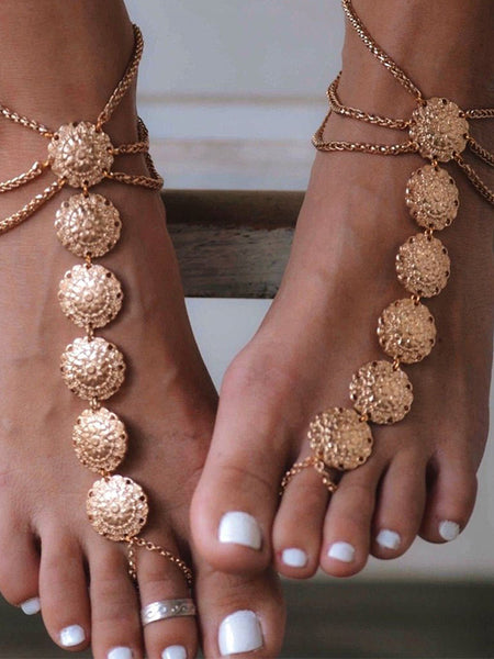Boho Vintage Ethnic Carved Flower Plate Foot Chain Anklet Accessories