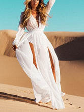 Load image into Gallery viewer, Elegant Long White Split-side Long Sleeve  Lace Bikini Cover-Up