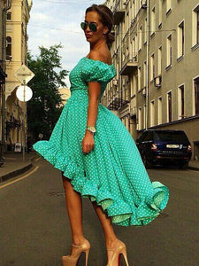 Green Polka Dot Off Shoulder Midi Dress