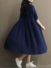 Load image into Gallery viewer, Vintage Button Linen Cotton Long Sleeve Midi Dress