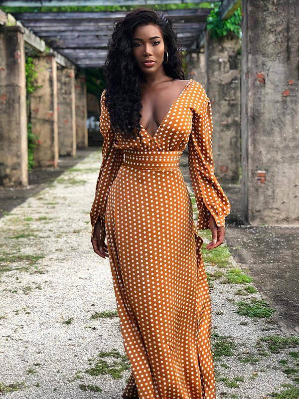 Belt Polka-dot V-neck Long Sleeve Maxi Dress