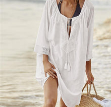 Load image into Gallery viewer, Women Solid Color Tassel Mini Dress Swimwear Beach Cover-up