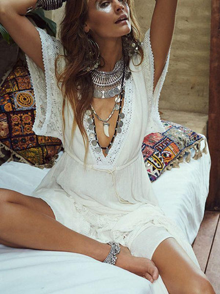 Spring And Summer Bohemian V-Neck High Waist Lace Stitching Big Swing Skirt