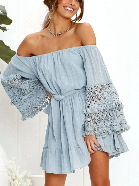 Sexy One-Shoulder Lace Stitching Trumpet Sleeves Off-Shoulder Dress