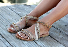 Load image into Gallery viewer, Boho Metal Decoration Flat Bottom Hollowed Casual Plus Size Beach Sandals Shoes