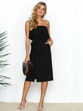 Load image into Gallery viewer, Off Shoulder Button Solid Color Summer Midi Dress