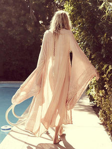 Lacework Bohemian Long Kimono Batwing Sleeve Cardigan Dress