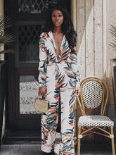 Load image into Gallery viewer, Print Deep V Neck Long Sleeve Split Maxi Dress