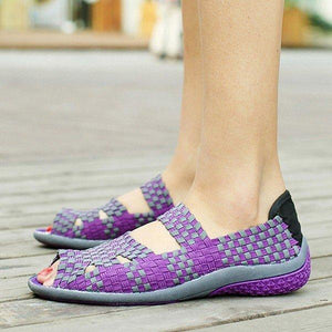 Handmade Knitting Hollow Out Breathable Peep Toe Slip On Platform Shake Shoes