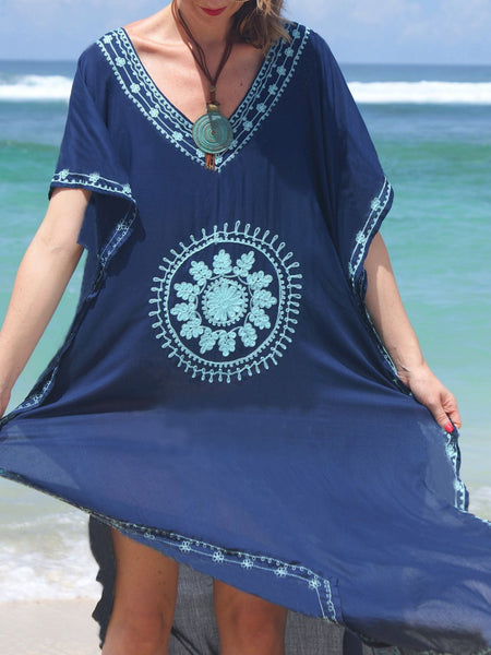 Embroidered Beach Dress Robe Holiday Dress Bikini Blouse Women's Sun Protection Clothing