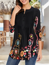 Load image into Gallery viewer, Long Sleeve Black V Neck Holiday Floral Printed Tunic