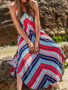 Summer Print Spaghetti Strap Irregular Beach Maxi Dress