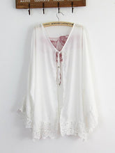 Load image into Gallery viewer, Lace Sleeves Mini Eagle Print White Bohemia Beach Cardigan Tops