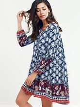 Load image into Gallery viewer, Beautiful Blue Bohemia Long Sleeve Round Neck Beach Mini Dress