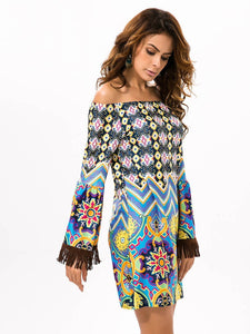 Beautiful Chiffon Bohemia Floral Off Shoulder with Tassels Bodycon Mini Dress