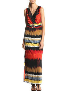 Printed Sleeveless Jumper Maxi Dress