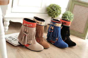 Winter Beads Tassels Plus Size Hidden Heel Boots