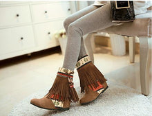 Load image into Gallery viewer, Winter Beads Tassels Plus Size Hidden Heel Boots