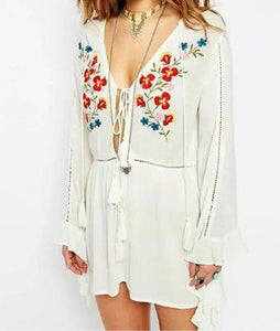 New Embroidered Tassel V Neck Trumpet Sleeve Belted Mini Dress