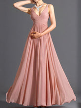 Load image into Gallery viewer, V-Neck Ruched Plain Evening Dress