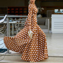 Load image into Gallery viewer, V-Neck Bohemia Vacation Long Sleeve Polka Dress