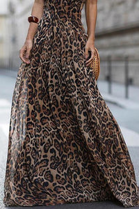 Sexy Leopard Print Spaghetti Strap Maxi Long Dress