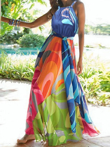 Popular Floral-Print Straps Cross Neck Sleeveless Beach Maxi Dress