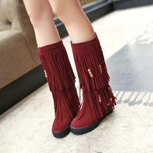 Load image into Gallery viewer, Women Boho Winter Tassel Warm Hidden Heel Long Boots