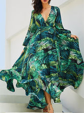 Load image into Gallery viewer, Lantern Sleeve V Collar Leaf Print Dress
