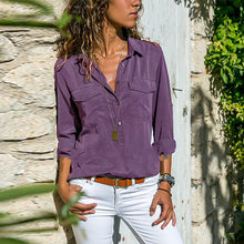Load image into Gallery viewer, Casual Solid Color Long Sleeve Plain Button Pocket Blouses Tops