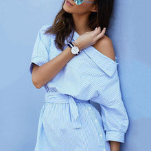 Load image into Gallery viewer, Fashion Stripe Oblique Shoulder Belted Shirt Dress