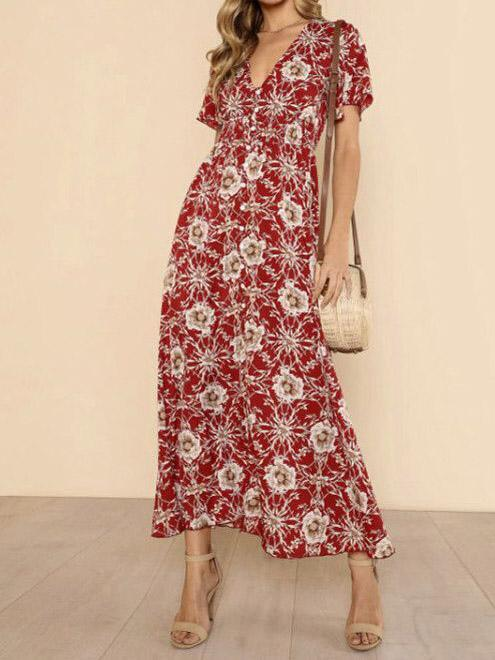 Floral Print V Neck Short Sleeve Beach Maxi Dress